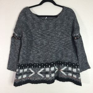 Free People grey black white long sleeve sweater